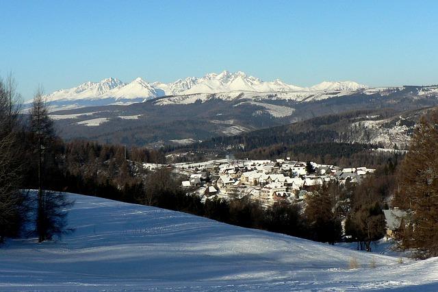 Winters dorpje in de Hoge Tatra