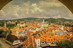 Uitzicht op het oude centrum van Český  Krumlov